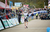U23 race winner &amp; U23 World Champion Wout Van Aert (BEL/Vastgoedservice-Golden Palace) crossing the finish line on foot<br /> <br /> GP Zonhoven 2014