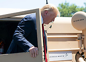 July 15, 2019 - Washington, DC, United States: United States President Donald J. Trump exits a THAAD (Terminal High Altitude Area Defense) missile launcher on display at the 3rd Annual Made in America Product Showcase at the White House.<br /> Credit: Chris Kleponis / Pool via CNP