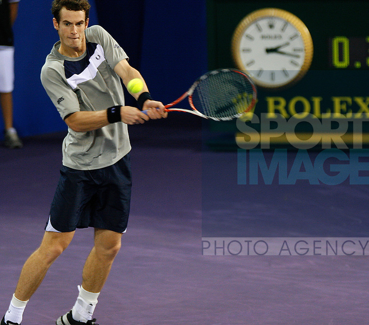 Andy Murray (GBR) in action against Marin Cilic (CRO) during their 3rd round match in the ATP Mutua Madrileña Masters Madrid on Thursday 16th Oct 2008.