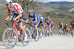 The peloton including Tiesj Benoot (BEL) Lotto-Soudal and Zdenek Štybar (CZE) Deceuninck-Quick Step give chase on sector 8 Monte Santa Maria during Strade Bianche 2019 running 184km from Siena to Siena, held over the white gravel roads of Tuscany, Italy. 9th March 2019.<br /> Picture: Seamus Yore | Cyclefile<br /> <br /> <br /> All photos usage must carry mandatory copyright credit (© Cyclefile | Seamus Yore)