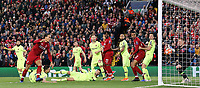 Barcelona's Marc-Andre ter Stegen stops a flicked on effort by Liverpool's Virgil van Dijk<br /> <br /> Photographer Rich Linley/CameraSport<br /> <br /> UEFA Champions League Semi-Final 2nd Leg - Liverpool v Barcelona - Tuesday May 7th 2019 - Anfield - Liverpool<br />  <br /> World Copyright © 2018 CameraSport. All rights reserved. 43 Linden Ave. Countesthorpe. Leicester. England. LE8 5PG - Tel: +44 (0) 116 277 4147 - admin@camerasport.com - www.camerasport.com