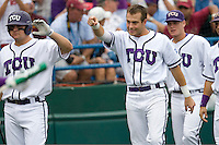 TCU's Taylor Featherston celebrates against Florida State in Game 1 of the NCAA Division One Men's College World Series on Saturday June 19th, 2010 at Johnny Rosenblatt Stadium in Omaha, Nebraska.  (Photo by Andrew Woolley / Four Seam Images)