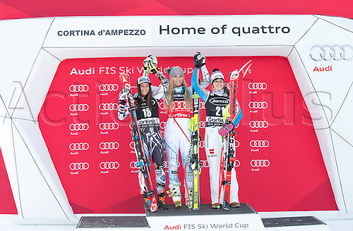 24.01.2016. Cortina d Ampezzo, Italy. FIS World Cup Womens Super G Downhill. Tina Weirather (LIE, 2nd place), Lindsey Vonn (USA, 1st Place), Viktoria Rebensburg (GER, 3rd place)