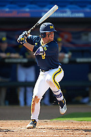 Michigan Wolverines shortstop Michael Brdar (9) at bat during the second game of a doubleheader against the Canisius College Golden Griffins on February 20, 2016 at Tradition Field in St. Lucie, Florida.  Michigan defeated Canisius 3-0.  (Mike Janes/Four Seam Images)