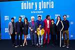 (L-R) Leonardo Sbaraglia, Penelope Cruz, Pedro Almodovar, Antonio Banderas, Asier Flores, Asier Etxeandía, Julieta Serrano, Nora Navas and Raul Arevalo attend the photocall of the movie 'Dolor y gloria' in Villa Magna Hotel, Madrid 12th March 2019. (ALTERPHOTOS/Alconada)