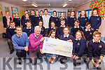 TY Students from Colaiste na Sceilge with their 'Youth For Justice Project - Answer For Cancer' with Finbar Walsh who gave a talk to all the TY Students on Monday and pictured here receiving a cheque for €300 which was raised from a youth disco, organisers pictured here front l-r; Shane O'Neill(teacher), Finbar Walsh, Sara Abad de Marcos, Caoimhe Teahan, Ciara O'Connor, Gerrit Seig & back left Karen O'Driscoll(teacher).