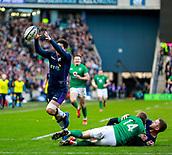 9th February 2019, Murrayfield Stadium, Edinburgh, Scotland; Guinness Six Nations Rugby Championship, Scotland versus Ireland; Sam Johnson (Scotland) picks up the ball to score