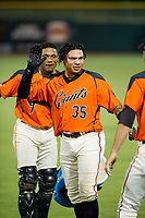 AZL Giants Diego Rincones (35) celebrates a walk-off victory against AZL Brewers with teammates Andres Angulo (1) and Nick Hill (22) on August 15, 2017 at Scottsdale Stadium in Scottsdale, Arizona. AZL Giants defeated the AZL Brewers 4-3. (Zachary Lucy/Four Seam Images)