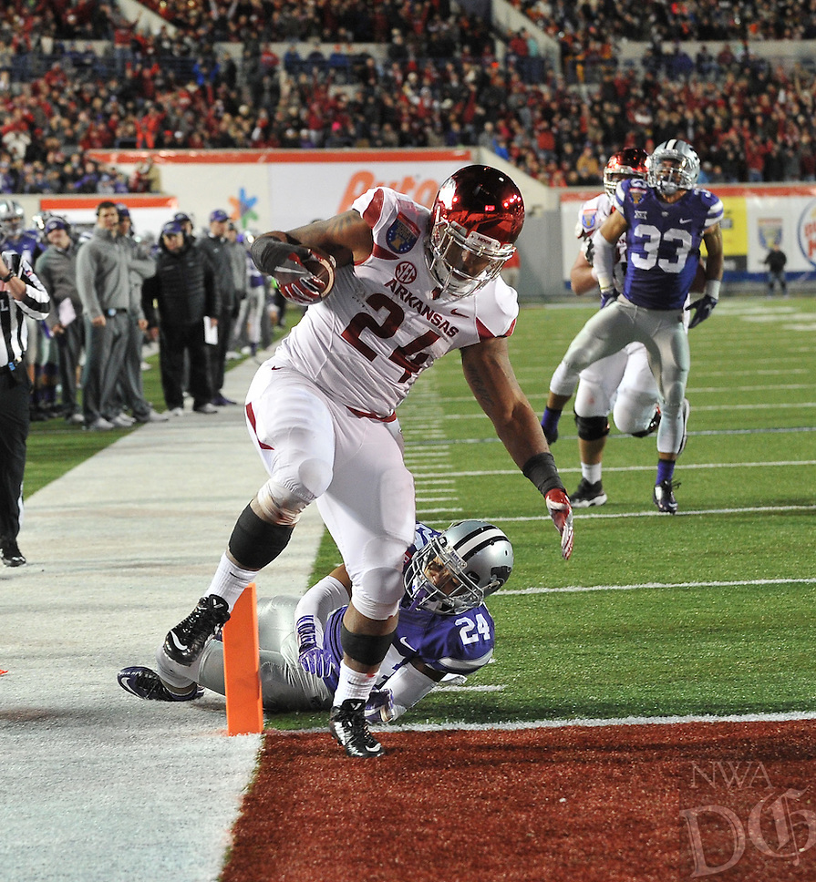 NWA Democrat-Gazette/MICHAEL WOODS • @NWAMICHAELW<br /> University of Arkansas running back Kody Walker (24) runs for a touchdown in the 4th quarter of the Razorbacks 45-23 win over Kansas State in the 57th annual AutoZone Liberty Bowl January 2, 2016.