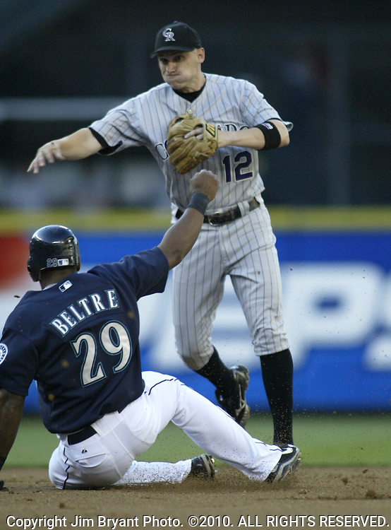Colorado Rockies' shortstop Clint Barmes forces out Seattle Mariners' Adrian Beltre out a second on double play ball hit by Josed Lopez in the first inning in Seattle on June 30, 2006..Jim Bryant Photo. ©2010. ALL RIGHTS RESERVED.