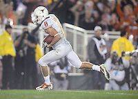 Jan 7, 2010; Pasadena, CA, USA; Texas Longhorns wide receiver Jordan Shipley (8) runs after a catch and scores a touchdown during the third quarter of the 2010 BCS national championship game against the Alabama Crimson Tide at the Rose Bowl.  Mandatory Credit: Mark J. Rebilas-