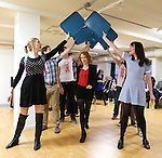 Jessica Keenan Wynn and cast performing at the Open Press Rehearsal for 'Heathers The Musical' on February 19, 2014 at The Snapple Theatre Center in New York City.