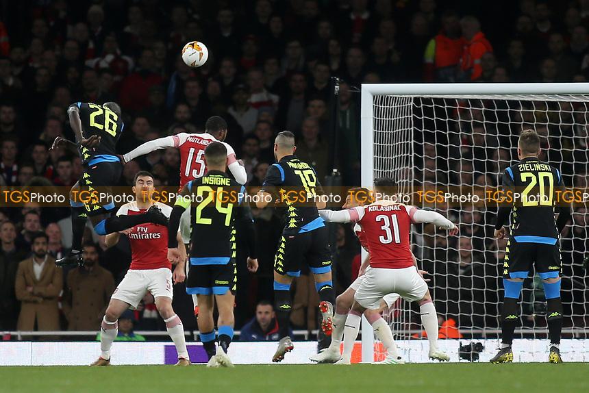 Kalidou Koulibaly of Napoli heads the ball towards the Arsenal goal during Arsenal vs Napoli, UEFA Europa League Football at the Emirates Stadium on 11th April 2019