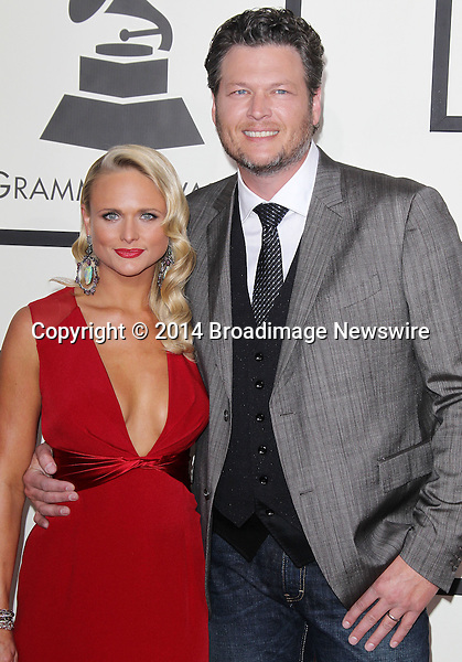 Pictured: Blake Shelton, Miranda Lambert<br /> Mandatory Credit &copy; Frederick Taylor/Broadimage<br /> 56th Annual Grammy Awards - Red Carpet<br /> <br /> 1/26/14, Los Angeles, California, United States of America<br /> <br /> Broadimage Newswire<br /> Los Angeles 1+  (310) 301-1027<br /> New York      1+  (646) 827-9134<br /> sales@broadimage.com<br /> http://www.broadimage.com
