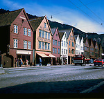Wooden fronted house in Bergen circa 1976. Bergen Norway,