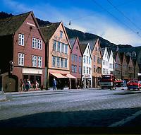 Wooden fronted house in Bergen circa 1976. Bergen Norway,