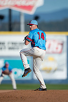 Spokane Indians relief pitcher Wes Robertson (14) delivers a pitch during a Northwest League game against the Vancouver Canadians at Avista Stadium on September 2, 2018 in Spokane, Washington. The Spokane Indians defeated the Vancouver Canadians by a score of 3-1. (Zachary Lucy/Four Seam Images)