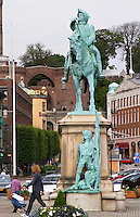 Equestrian statue with Magnus Gustafsson Stenbock on the Hamntorget Harbour Square, heroic early 18th century military figure, defender of the Swedish province of Scania against invading Danes. Helsingborg, Skane, Scania. Sweden, Europe.