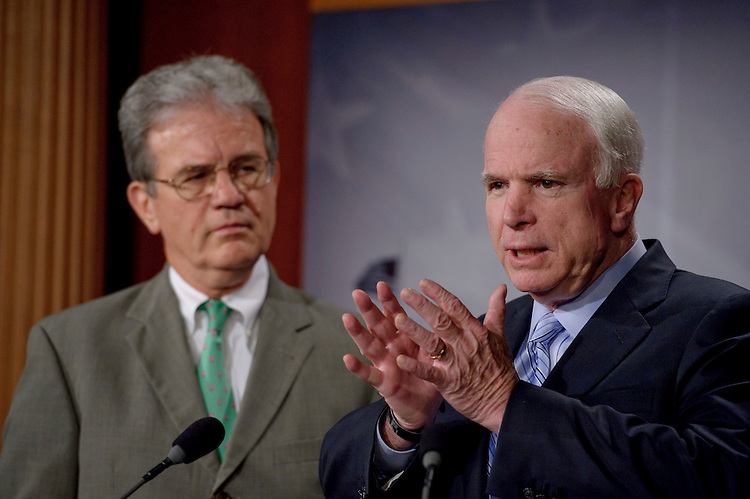 "WASHINGTON, DC - August 03: Sen. Tom Coburn, R-Okla., and Sen. John McCain, R-Ariz., during a news conference releasing their report called, ""Summertime Blues: 100 Stimulus Projects that Give Taxpayers the Blues."" The report is a third in a series highlighting what they say are wasteful stimulus projects that are unsuccessful in creating jobs. (Photo by Scott J. Ferrell/Congressional Quarterly)"