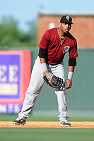 First baseman Dominic Smith (22) of the Savannah Sand Gnats in a game against the Greenville Drive on Sunday, June 22, 2014, at Fluor Field at the West End in Greenville, South Carolina. Smith, a first-round pick by the New York Mets in the 2013 First-Year Player Draft, is the Mets' No. 4 prospect, according to Baseball America. Greenville won, 7-3. (Tom Priddy/Four Seam Images)