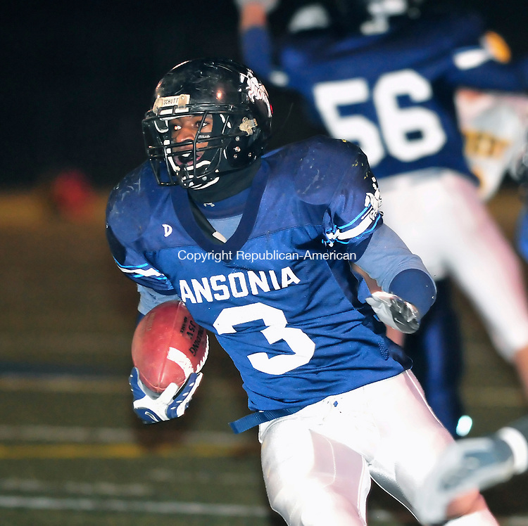 WATERBURY, CT-20 NOVEMBER 2008 --112008JS12--Ansonia's Tristan Roberts (3) runs for yardage during their 42-14 win over Kennedy in the NVL Championship game Thursday at Municipal Stadium in Waterbury. FOR ACTION MAN<br /> Jim Shannon / Republican-American
