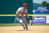 Richmond Flying Squirrels third baseman Ryder Jones (8) during a game against the Binghamton Mets on June 26, 2016 at NYSEG Stadium in Binghamton, New York.  Binghamton defeated Richmond 7-2.  (Mike Janes/Four Seam Images)
