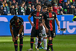 17.03.2019, BayArena, Leverkusen, GER, DFL, 1. BL, Bayer 04 Leverkusen vs SV Werder Bremen, DFL regulations prohibit any use of photographs as image sequences and/or quasi-video<br /> <br /> im Bild unzufrieden / enttaeuscht / niedergeschlagen / frustriert, die Spieler von Leverkusen nach dem Schlusspfiff<br /> <br /> Foto © nph/Mauelshagen