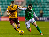 23rd November 2019; Easter Road, Edinburgh, Scotland; Scottish Premiership Football, Hibernian versus Motherwell; Scott Allan of Hibernian and Liam Polworth of Motherwell compete for possession of the ball - Editorial Use