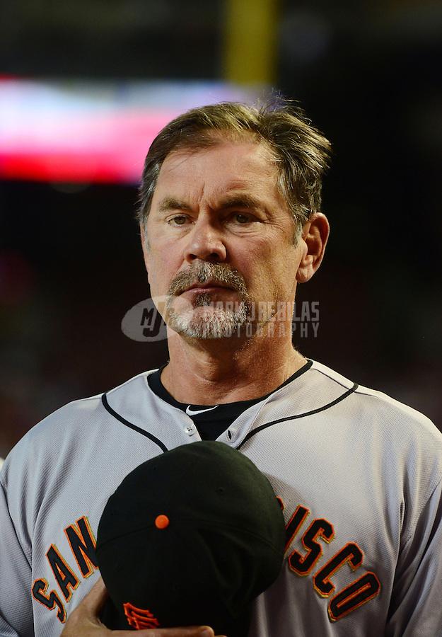 May 12, 2012; Phoenix, AZ, USA; San Francisco Giants manager Bruce Bochy prior to the game against the Arizona Diamondbacks at Chase Field. Mandatory Credit: Mark J. Rebilas-