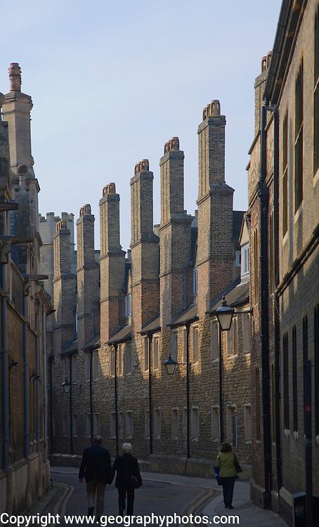 Tudor chimneys along Trinity Lane, Cambridge, England