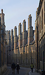 Tudor chimneys along Trinity Lane, Cambridge, England