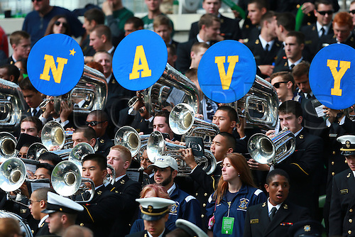 01.09.2012 Dublin, Ireland.  Navy band in action during the American Football game between Notre Dame and Navy from the Aviva Stadium.
