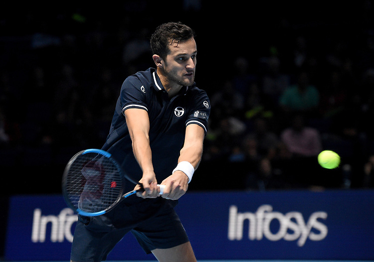 Mate Pavic in action against Pierre-Hugues Herbert and Nicolas Mahut<br /> <br /> Photographer Hannah Fountain/CameraSport<br /> <br /> International Tennis - Nitto ATP World Tour Finals Day 2 - O2 Arena - London - Monday 12th November 2018<br /> <br /> World Copyright © 2018 CameraSport. All rights reserved. 43 Linden Ave. Countesthorpe. Leicester. England. LE8 5PG - Tel: +44 (0) 116 277 4147 - admin@camerasport.com - www.camerasport.com