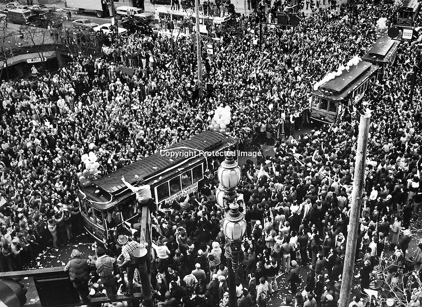 San Francisco 1982: The San Francisco 49ers parade accross Market St. in downtown San Francisco with throngs of fans lining the route. The niners defeated the Maimi Dolphins in the Super Bowl.<br />
