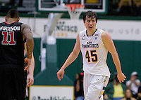 Cody Doolin of USF celebrates after scoring points during the game against St. John's at War Memorial Gym in San Francisco, California on December 4th, 2012.   USF Dons defeated St. John's, 81-65.