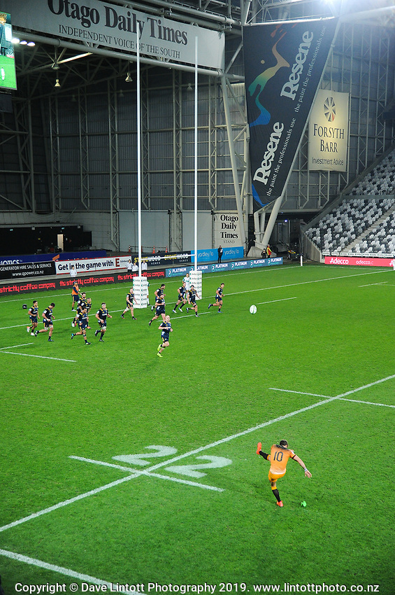 Joaquin Diaz Bonilla takes a conversion attempt during the Super Rugby match between the Highlanders and Jaguares at Forsyth Barr Stadium in Dunedin, New Zealand on Saturday, 11 May 2019. Photo: Dave Lintott / lintottphoto.co.nz