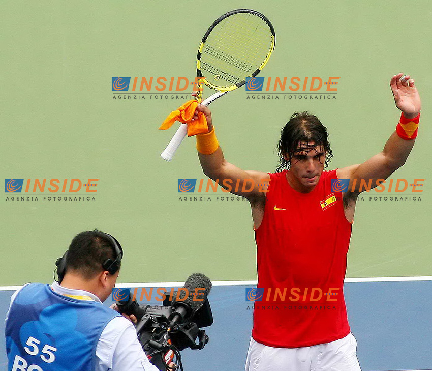 Aug 11, 2008, Beijing, China, Rafael Nadal of Spain 2:1 Potito Starace of Italy in a men's singles first round match during day three of the 2008 Beijing Olympic Games.<br /> Foto Cspa/Inside
