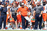 19 September 2015: Illinois head coach Bill Cubit. The University of North Carolina Tar Heels hosted the University of Illinois Fighting Illini at Kenan Memorial Stadium in Chapel Hill, North Carolina in a 2015 NCAA Division I College Football game. UNC won the game 48-14.