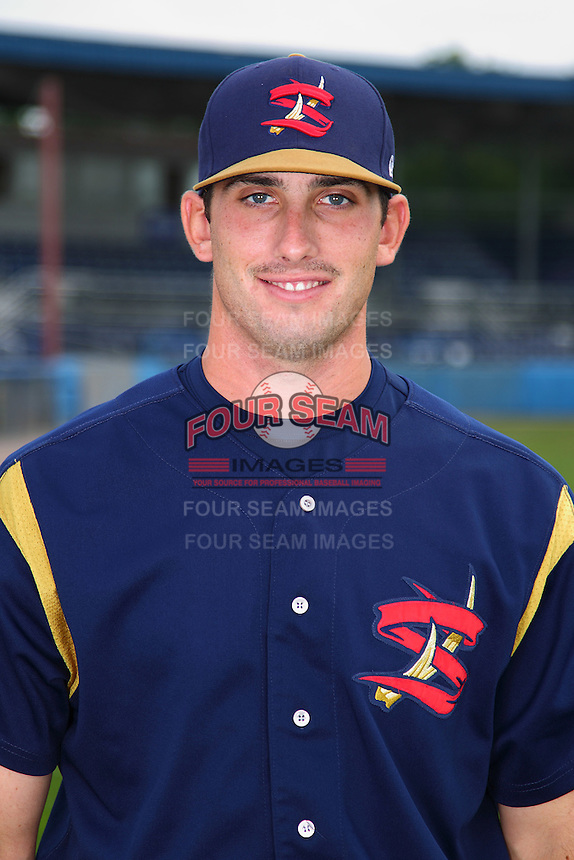 State College Spikes first baseman/catcher Matt Skirving #34 poses for a photo before a game against the Batavia Muckdogs at Dwyer Stadium on July 7, 2011 in Batavia, New York.  Batavia defeated State College 16-3.  (Mike Janes/Four Seam Images)