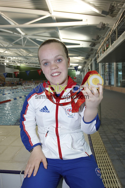 PICTURE by Paul Hollands/SWPIX.COM - Swimming portraits, Paralympics Beijing 08....29/09/08..Copyright - Simon Wilkinson - 07811267706 ..Paralympics GB athlete Eleanor Simmonds with her two gold medals