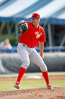 August 2, 2009:  Pitcher Nicholas Hernandez of the Williamsport Crosscutters delivers a pitch during a game at Dwyer Stadium in Batavia, NY.  Williamsport is the Short-Season Class-A affiliate of the Philadelphia Phillies.  Photo By Mike Janes/Four Seam Images
