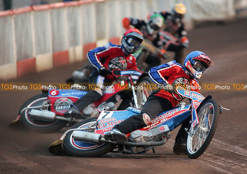 Heat 2 - Neath (blue), Lanham, Wilkinson (green), M Karlsson - Lakeside Hammers vs Wolverhampton Wolves - Elite League 'A' Fixture at Arena Essex - 11/05/07 - MANDATORY CREDIT: Gavin Ellis/TGSPHOTO - IMAGES USED WILL BE INVOICED AT STANDARD RATES..