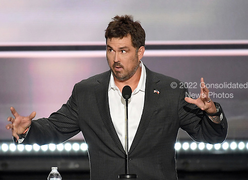 Former Navy Seal Marcus Luttrell makes remarks at the 2016 Republican National Convention held at the Quicken Loans Arena in Cleveland, Ohio on Monday, July 18, 2016.<br /> Credit: Ron Sachs / CNP<br /> (RESTRICTION: NO New York or New Jersey Newspapers or newspapers within a 75 mile radius of New York City)