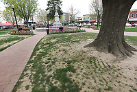 NWA Democrat-Gazette/FLIP PUTTHOFF <br /> Bare dirt is seen Saturday April 14 2019 along a walkway at the downtown Bentonville square. The square will close this week so a crew can install sod.