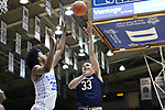 DURHAM, NC - JANUARY 29: Notre Dame's John Mooney (33) shoots over Duke's Marvin Bagley III (35). The Duke University Blue Devils hosted the University of Notre Dame Fighting Irish on January 29, 2018 at Cameron Indoor Stadium in Durham, NC in a Division I men's college basketball game. Duke won the game 88-66.