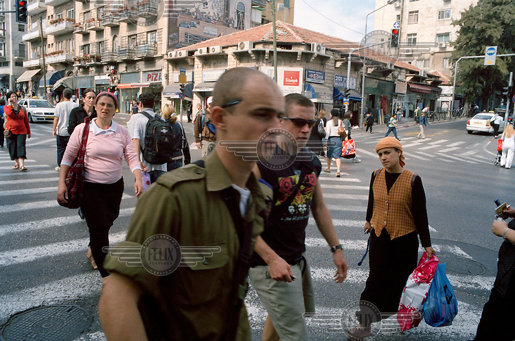 A pedestrian crossing on Jaffa Street. Jaffa Street, which lies in the centre of the Israeli part of Jerusalem, is one of the most bombed streets in the world.
