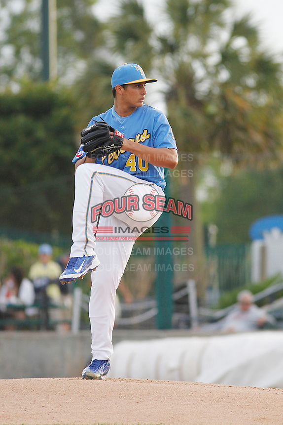 Myrtle Beach Pelicans pitcher Jonathan Martinez (40) on the mound during a game against the Salem Red Sox at Ticketreturn.com Field at Pelicans Ballpark on May 5, 2015 in Myrtle Beach, South Carolina.  Myrtle Beach defeated Winston-Salem  6-0. (Robert Gurganus/Four Seam Images)