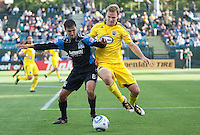 Chris Wondolowski (8) battles against Chad Marshall (14). The San Jose Earthquakes tied the Columbus Crew 2-2 at Buck Shaw Stadium in Santa Clara, California on June 2nd, 2010.