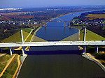 Aerial view of the C&amp;D Canal from Maryland to Delaware.<br /> Summit Bridge, St. George's Bridge, Chesapeake City