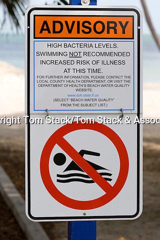 Health advisory warning sign, Florida Keys